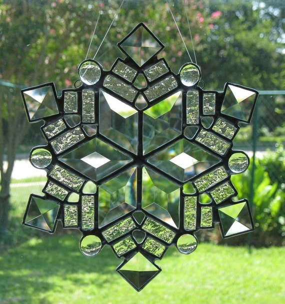 Stained Glass Suncatcher - Clear Beveled Snowflake 2