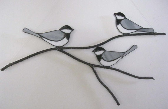 Chickadees on a Branch - Stained Glass Suncatcher or Wall Sculpture