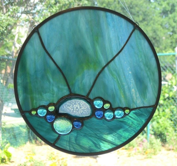 Abstract Stained Glass Panel - Aqua Blue with Agate Slice and Glass Nuggets