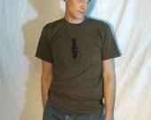 Tshirt - Army Ant - black on army green American Apparel 'Standard American' Fine Jersey Short Sleeve T-Shirt