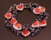 CLEARANCE-Bloody Mary Necklace, hematite chips and seed beads, beadweaving, plastic beads, 22 inches