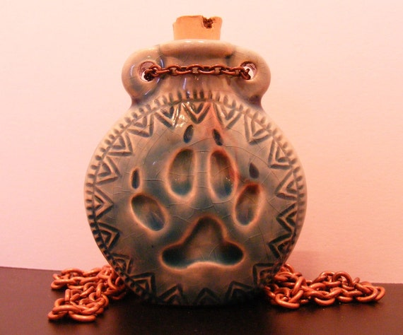 Wolf Print-Ceramic Jar Collection-copper chain, 27 1/2 inches