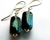 Dichroic glass beads on sterling silver earwires