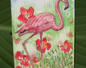 Pink Flamingo and Diamond Ring, Original ACEO Card