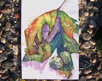 Leaf and Acorns, Orignal ACEO Card