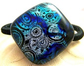 Silver and Blue Steampunk Dichroic Fused Glass - Hair Tie - Ponytail Holder-  OOAK Dichro glass- wearable Art