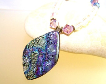 Summer Ice DICHROIC Necklace- Pendant-Focal- Purple Blue and Silver Fused Glass & Swarovski Crystal Beads.