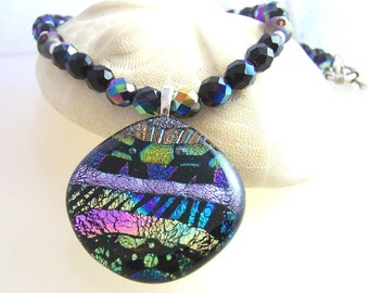 Northern Lights DICHROIC Statement Necklace- Pendant-Focal- Fused Glass Silver and Black.