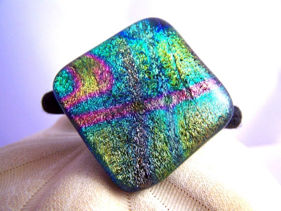 Turquoise and Pink Dichroic Fused Glass - Hair Tie - Ponytail Holder-  OOAK Dichro glass- wearable Art