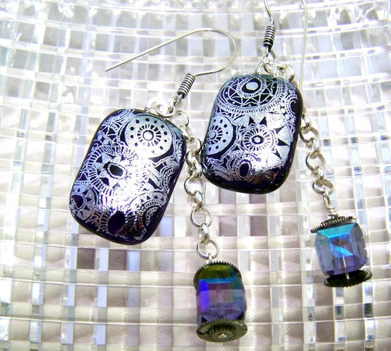 Silver and Purple Steampunk Dichroic Earrings, Fused Dichroic Glass, Sterling Silver and Swarovski Crystals.
