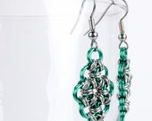 Green - Chainmaille Earrings - Japanese Diamond Pattern
