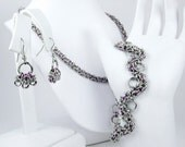 Purple Chainmaille Jewelry Set - Necklace, Bracelet, & Earrings
