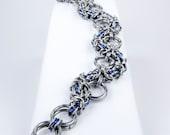 Chainmaille Bracelet - Blue Sanke Byzantine Style