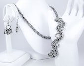 Black Chainmaille Jewelry Set - Necklace, Bracelet, & Earrings