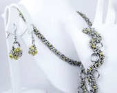 Yellow Chainmaille Jewelry Set - Necklace, Bracelet, & Earrings