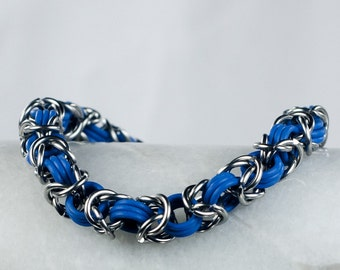 Blue - Chainmaille Bracelet - Stretchy