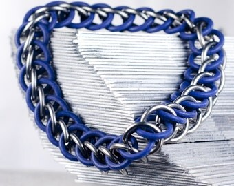 Purple - Chainmaille Bracelet - Stretchy Chain