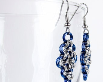 Blue - Chainmaille Earrings - Japanese Diamond Pattern