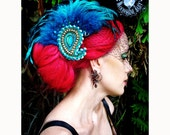 Odalisque Turquoise Paisley Feather Fascinator Brooch Combo - by Moonshine Baby