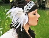 Zelda - White Peacock Flapper Headband in Silver & White w/ Faux Diamonds - by Moonshine Baby