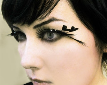 HEART OF DARKNESS Feather Eyelashes w/ Black Hearts and Crystals - By Moonshine Baby