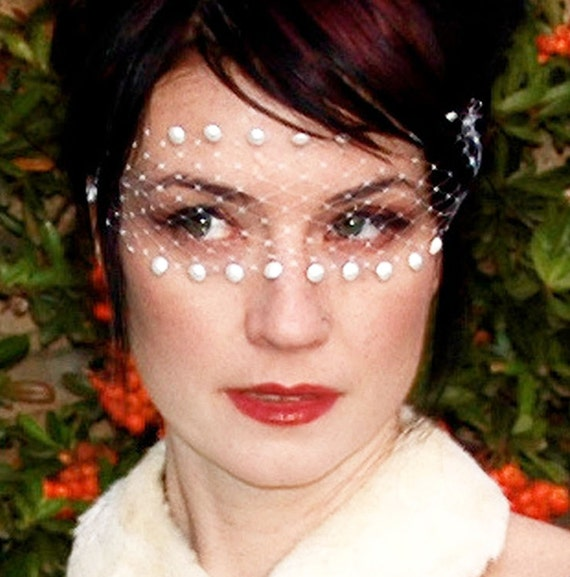 Romantic White Lace Bandeau Mask w/ Swarovski Pearls & French Netting - by Moonshine Baby