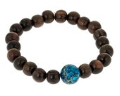 Blue Jasper & Wood Bead Bracelet