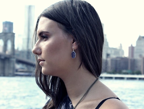 Indigo Druzy Earrings