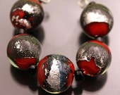 Glass Beads Red Rounds with Fine Silver Metallic Lampwork Set by Heather Behrendt (254) BHV SRA