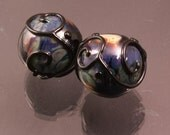 Raku Glass Handmade Lampwork Beads Black Scrolls Rounds Earring Pair Heather Behrendt BHV SRA LETeam