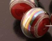 Lampwork Beads Handmade Glass Metallic Red Rondelle Bead Set Heather Behrendt BHV SRA LETeam