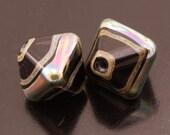 Metallic Black Crystal Earring Pair Lampwork Beads Handmade Heather Behrendt BHV SRA LETeam