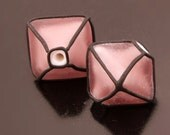 Glass Lampwork Beads Etched Purple Crystal Earring Pair Handmade Heather Behrendt BHV SRA LETeam