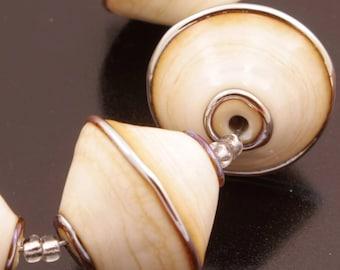 Bicone Bead Set Lampwork Beads Handmade Metallic Crackle Ivory Cream Heather Behrendt BHV SRA LETeam