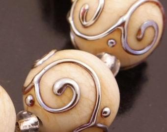Cream Ivory Lampwork Beads Handmade Metallic Scrolls Round Bead Set Heather Behrendt BHV SRA LETeam