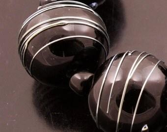 SRA Metallic Black Rounds Bead Set Handmade Lampwork Beads Heather Behrendt BHV LETeam