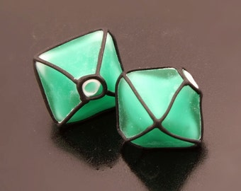 Etched Emerald Green Glass Lampwork Beads Crystal Pair Heather Behrendt BHV SRA