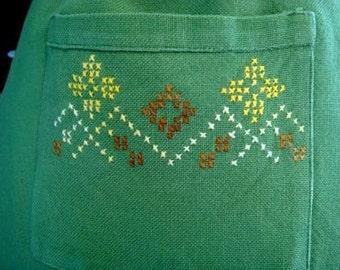 Vintage Hostess Apron, Kitchen Half Apron, Handmade Green Cross Stitch Apron with Pocket,  St. Patricks Day