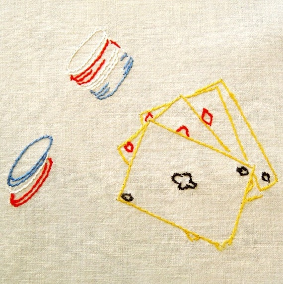 Poker Cloth Vintage Embroidered Table Linen