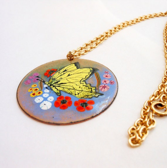 Signed Enamel Butterfly Pendant Necklace, Vintage 70s Enamel On Copper Jewelry, Yellow Enamel Butterfly and Flowers Necklace