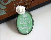 A Green Keep Calm and Carry On Pendant Necklace. (A Great Gift).