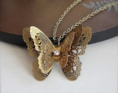 Les Papillons - Three Layered Butterflies Antiqued Brass Necklace.  Unique Gifts for Her.  Fluttering Butterflies.