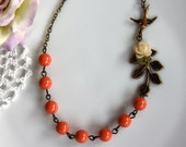 A Babys Dream Garden II - A Tiny Stalk of Flower, Flying Bird, Leaf Branch & Orangey Coral Pearls Necklace. Moms To Be. Baby Shower Gift.