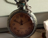 Late... Late... I am very Late - A White Rabbits Large Pocket Watch Necklace - Alice in Wonderland & Tim Burton Inspired.