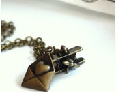 Air Mail Letters.... An Airplane, Envelope, Mail Lariat Necklace. Holiday Gift Ideas. Pilot, Flying Hobby,  Messages of Love.