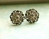 A Vintage Style Crystals Rhinestone Antiqued Bronze Filigree Floral Ear Post Earrings.  Bridal Gifts.  Vintage Wedding. Bridesmaid Earrings.
