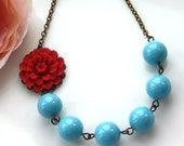 A Red Mum, Dahlia Flower & Turquoise Blue Pearls Necklace. Summer Wedding. Bridal Gift Ideas. Bridesmaid Necklace. For Wife. For Mom.