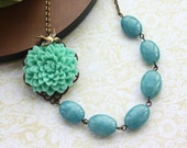 A Mint Green Chrysanthemum Flower & Oval Sponge Blue Kyanite Gemstone Necklace. Maid of Honor. Bridesmaid Gift Ideas. For Her.