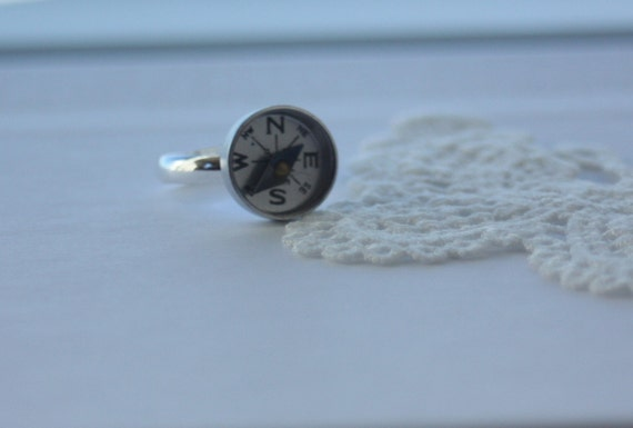 Never Lost ... We will find our way - Vintage Compass Silver Ring