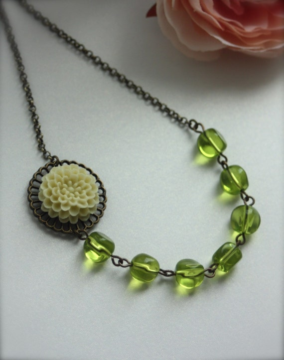 Are we ready for Summer....  Cream Chrysanthemum with Green Glass Beads